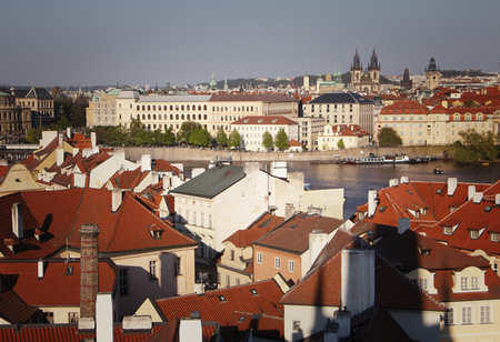 View of Prague from a height. Roofs of Prague.
