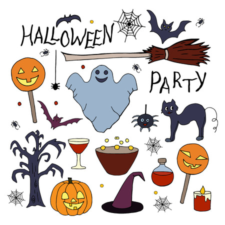 Set of hand drawn elements for halloween party on white background Ilustracja