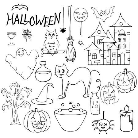 Set of hand-drawn black and white elements for the Halloween holiday on a white background