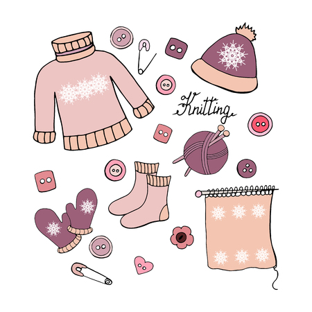 Set of hand drawn elements for knitting on white background Vettoriali