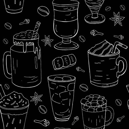 Hand drawn different coffee pattern, white line on the black background.