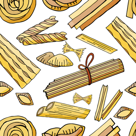 Seamless pattern with different types of pasta on white background