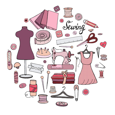Set of different objects for sewing on a white background Illustration