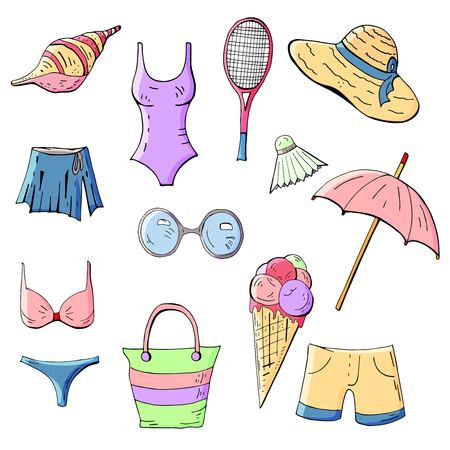 Set of summer elements on white background Векторная Иллюстрация