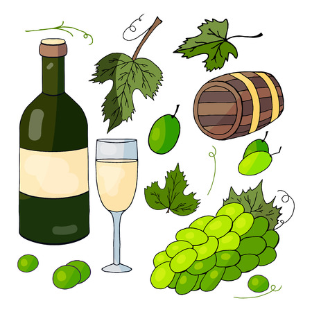 A set of hand-drawn elements: white wine, a bunch of grapes and grape  leaves  on a white background Vettoriali
