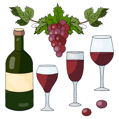 Set of hand drawn elements: bottle with red wine, glasses and grapes on a white background
