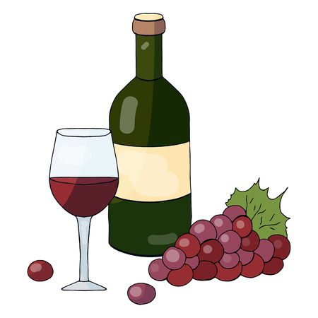 A bottle of red wine, a glass of wine and grapes on a white background Ilustração