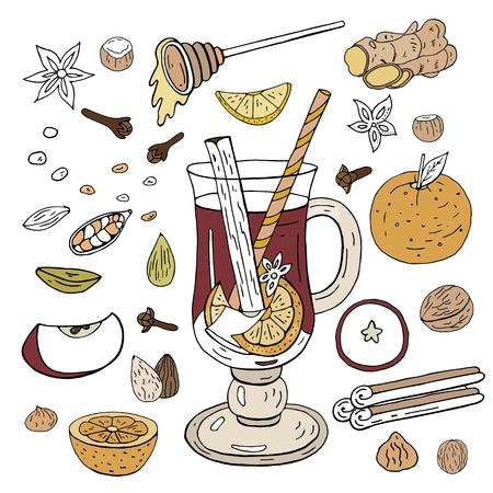 Hand-drawn mulled wine. Ingredients and spices for mulled wine