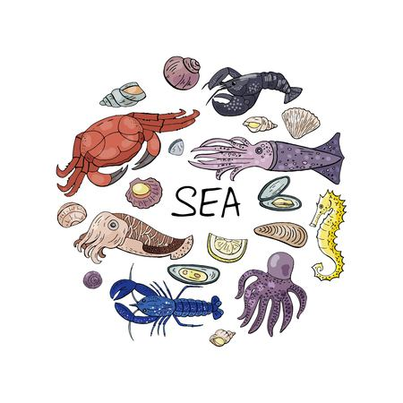 Vector hand drawn seafood in circle shape isolated on white. Vector doodle seafood set