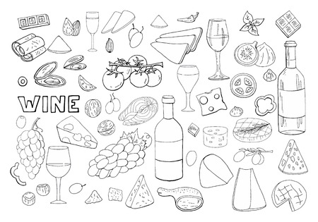 Bid hand drawn set with wine, different cheese, grape, vegetables isolated on white background. Vector doodle wine outline set  イラスト・ベクター素材