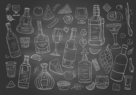 Set of hand drwan different alcohol drinks and bottles on chalkboard. Alcohol collection for cafe