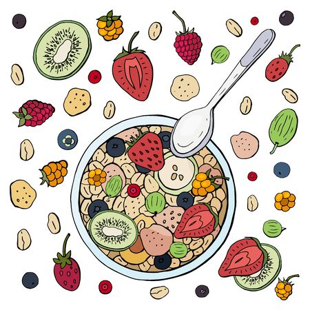 Healthy breakfast made from muesli with fruits and berries on a white plate. Oatmeal with fruit
