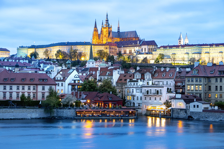 Prague, Czech Republic, April 22, 2019 - View of the evening Prague. Twilight in Prague.
