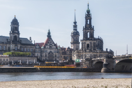 Dresden, Germany, April 24, 2019 - View from the river on Dresden Editöryel