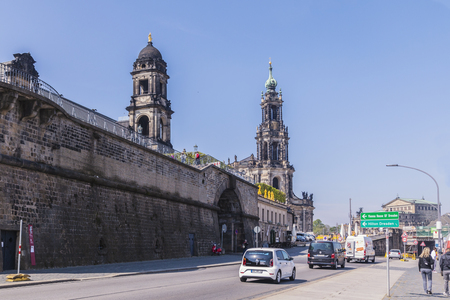 Dresden, Germany, April 24, 2019 -walk through the streets of Dresden