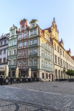 Poland, Wroclaw, April 24, 2019 - Center of the city Wroclaw, Polish streets. Old town Wroclaw.