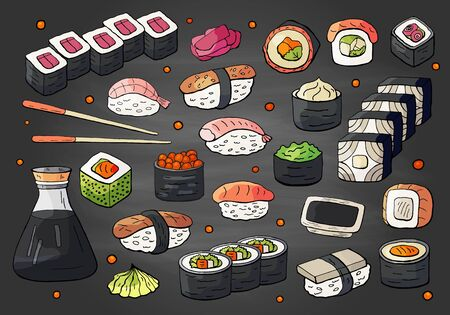 Big set of japan sushi and rolls collection on chalkboard. Vector hand drawn sushi collection, asian food on black backround.