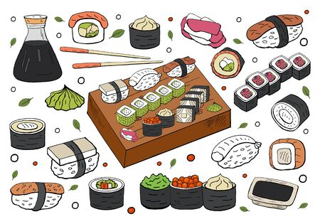 Big set of japan sushi and rolls collection on white background. Vector hand drawn sushi collection