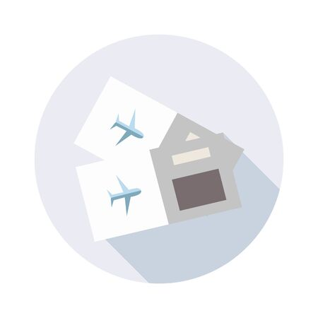 Tickets for travel by plane icon with long shadow for web design. Separate icon with travel concept.