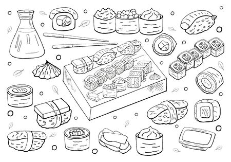 Set of hand drawn sushi set on white background. Sushi and rolls collection, asian food. Black and white Japan food.