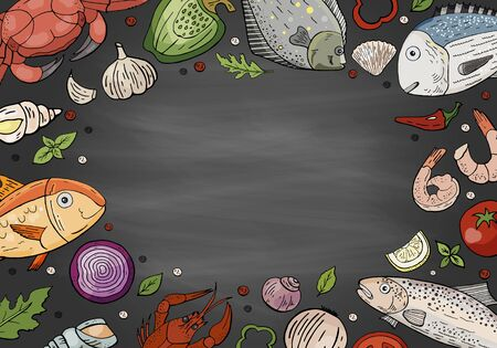 Big seafood set and vegetables on chalkboard. Hand drawn seafood collection on black background for cafe menu.