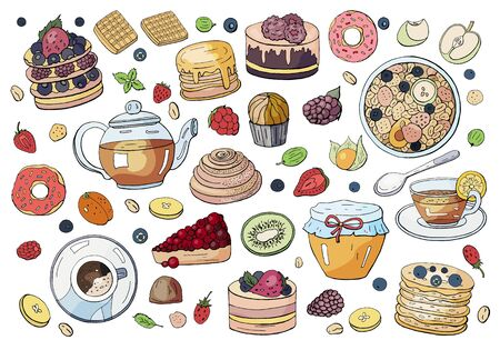 Big set of different elements of breakfast isolated on white background. Different drinks, cakes and sweets. Tea, coffee, donut, granola, honey, pancakes, waffles and sweets.
