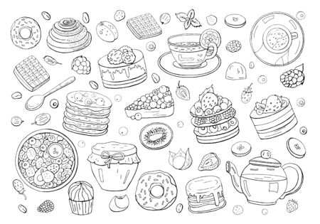 Black and white big set of different elements of breakfast isolated on white background. Different drinks, cakes and sweets. Tea, coffee, donut, granola, honey, pancakes, waffles and sweets. Stockfoto
