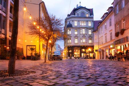 Bratislava, Slovakia - walk in the old city of Bratislava, view of the city. Evening view of the central street, twilight