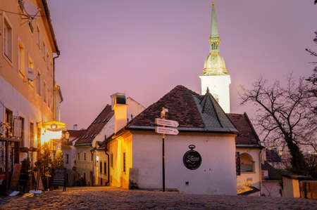 Bratislava, Slovakia- walk in the old city of Bratislava, view of the city. View of St. Martin's Cathedral, twilight