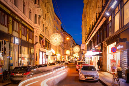 Austria, Vienna: 24, nowember, 2019 - Central evening streets in Vienna. New year's and christmas decoration. European new year's illumination.