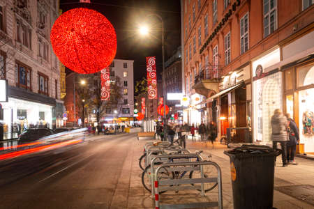 Austria, Vienna: 24, november, 2019 - Central evening streets in Vienna. New year's and christmas decoration. European new year's illumination.