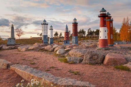 Kotka, Finland- Katariina Seaside Park. Autumn view of miniature lighthouses in Kotka. Beautiful autumn landscape, sunset. Editorial