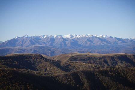 Caucasian ridge, North Caucasus.  Kabardino-Balkaria, Russia. Beautiful nature, mountains.  Mount Elbrus, the highest mountain in Russia.