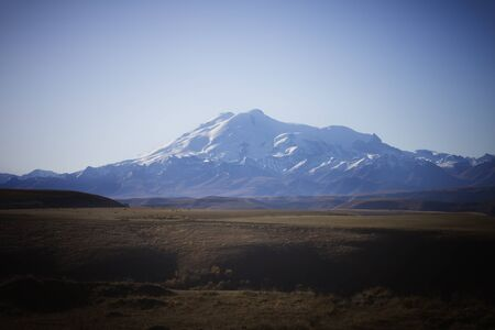 Mount Elbrus, the highest mountain in Russia. North Caucasus. Sunset overlooking Elbrus, beautiful nature, mountains.