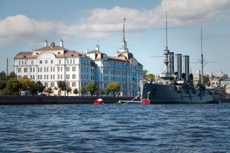 St. Petersburg, Russia - View of the cruiser Aurora on the Neva. Boat trip on the river.