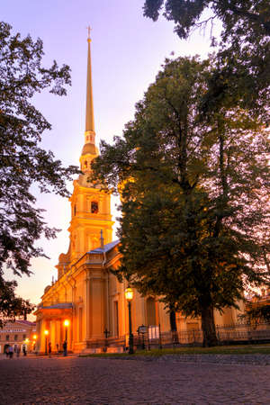 St. Petersburg, Russia - September 1, 2019 - View of the evening illuminated Peter and Paul Church. Twilight in Petersburg. Rabbit Island Editorial