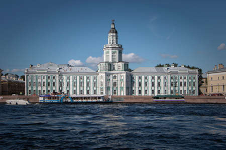 St. Petersburg, Russia - September 1, 2019 -Kunskamera view on a summer evening from the Neva.  Boat trip on the Neva