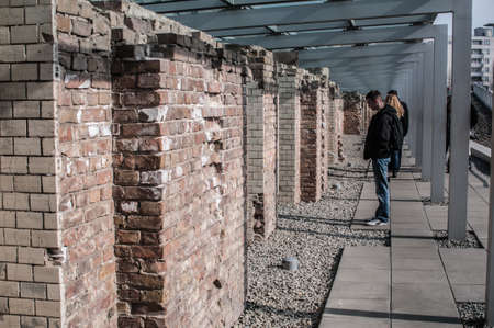 birkenau: Museum of the topography of terror in Berlin. Located on Niederkirchnerstrasse, the site of buildings which during the Nazi Germany from 1933 to 1945, were the main headquarters of the Gestapo and the SS, the main tool of repression. On the picture, peopl Editorial