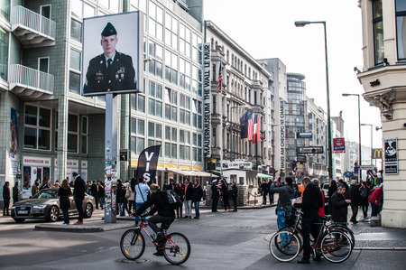 sectors: Checkpoint Charlie in Berlin was the crossing point Between East and West Berlin sectors during the Cold War. In the photo, visitors people. Editorial