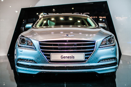 Poznan, Poland. 27th Mar, 2014. Poznan Motor Show is the largest fair event in Poland, the automotive industry, organized every year by the International Fair. On the picture Hyundai Genesis. Editorial