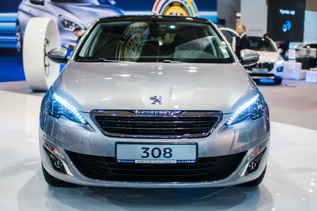 Poznan, Poland. 27th Mar, 2014. Poznan Motor Show is the largest fair event in Poland, the automotive industry, organized every year by the International Fair. On the picture Peugeot 308. Editorial