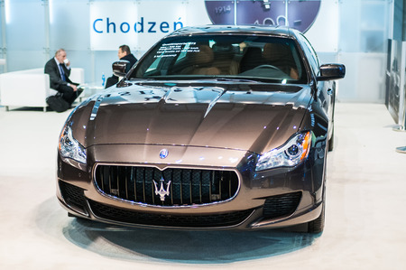 Poznan, Poland. 27th Mar, 2014. Poznan Motor Show is the largest fair event in Poland, the automotive industry, organized every year by the International Fair. On the picture Maserati Quattroporte. Editorial