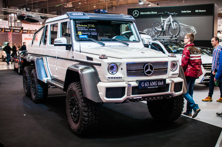 Poznan, Poland. 27th Mar, 2014. Poznan Motor Show is the largest fair event in Poland, the automotive industry, organized every year by the International Fair. On the picture Mercedes G63 AMG 6x6.
