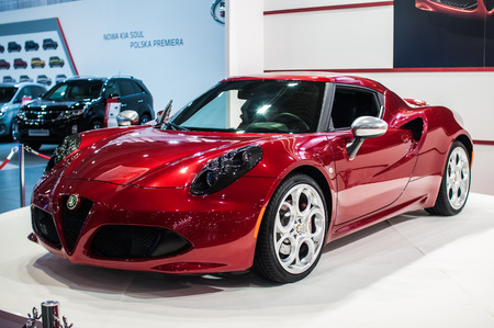 Poznan, Poland. 27th Mar, 2014. Poznan Motor Show is the largest fair event in Poland, the automotive industry, organized every year by the International Fair. On the picture Alfa Romeo 4C.