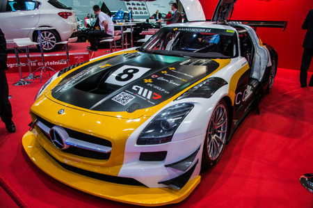 Poznan, Poland. 27th Mar, 2014. Poznan Motor Show is the largest fair event in Poland, the automotive industry, organized every year by the International Fair. On the picture Mercedes SLS AMG GT3.
