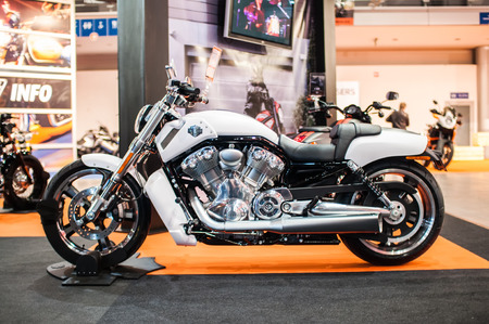 Poznan, Poland. 27th Mar, 2014. Poznan Motor Show is the largest fair event in Poland, the automotive industry, organized every year by the International Fair. On the picture harley davidson V-Rod Muscle. Editorial