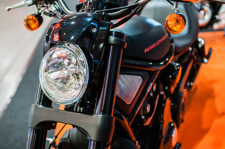 Poznan, Poland. 27th Mar, 2014. Poznan Motor Show is the largest fair event in Poland, the automotive industry, organized every year by the International Fair. On the picture harley davidson Night Rod Special. Editorial