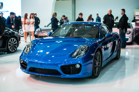 Poznan, Poland. 27th Mar, 2014. Poznan Motor Show is the largest fair event in Poland, the automotive industry, organized every year by the International Fair. On the picture Porsche cayman s.
