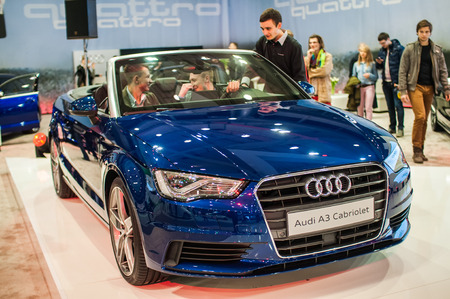 Poznan, Poland. 27th Mar, 2014. Poznan Motor Show is the largest fair event in Poland, the automotive industry, organized every year by the International Fair. On the picture Audi A3 Cabriolet.