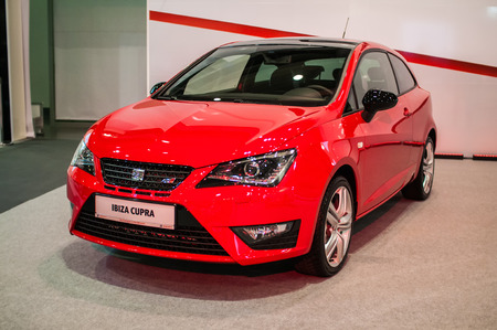Poznan, Poland. 27th Mar, 2014. Poznan Motor Show is the largest fair event in Poland, the automotive industry, organized every year by the International Fair. On the picture Seat Ibiza Cupra.